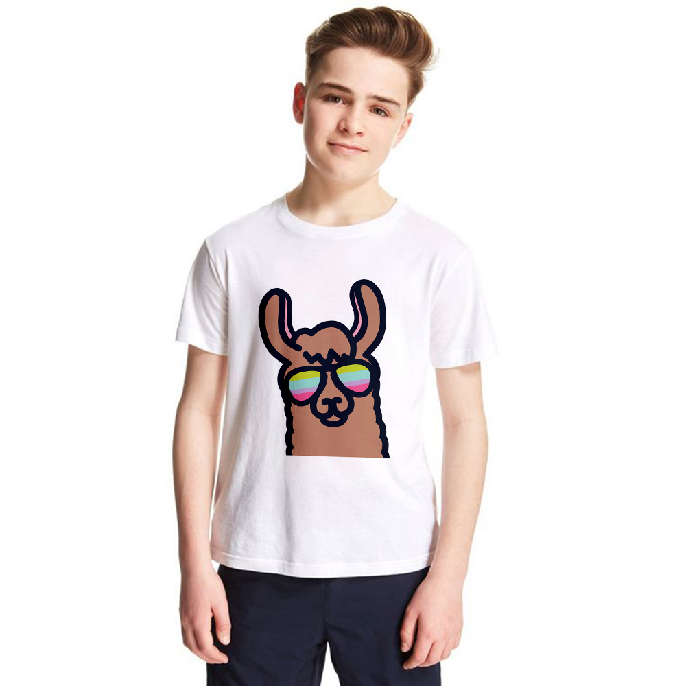1Yto12Y Llama Kids T Shirt Alpaca Children Summer Tees Cartoon Funny Animal Boys Girls T-shirt Llama with Sunglass Pattern Tops animal рубашка animal silverstoe shirt f94 s