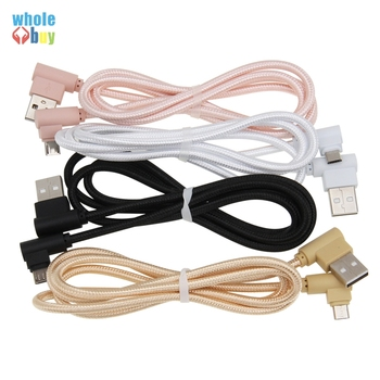 100pcs/lot High speed 0.25m 1m 2m 3m 90 Degree L-shaped braided Game Cable Micro 5pin 8pin Type C Data Cable for iPhone Xiaomi