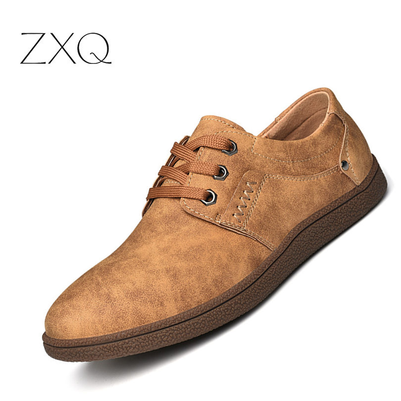 ZXQ Men Casual Shoes Big Size 46 Leather Shoes Simple & Stylish Oxford For Male Retro Lace-up Style Men Shoes jyrhenium big size 34 46 men s casual