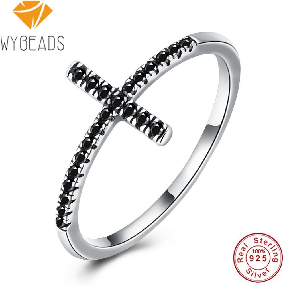 WYBEADS 925 Sterling Silver Faith Cross Finger Rings Black Cubic Zirconia Ring For Women Engagement Party Luxury Fine Jewelry