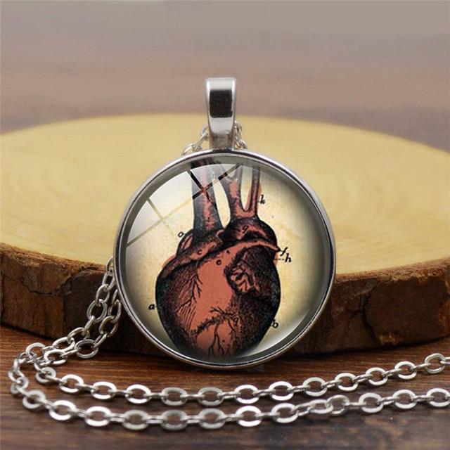 Anatomical Heart Necklace Human Anatomy Jewelry Medical Art Glass ...