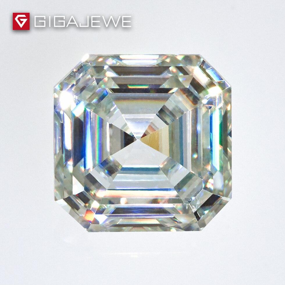 GIGAJEWE Excellent Asscher Cut Moissanite Loose Gem Stone GH Color Big Size 5 3ct 9 5mm