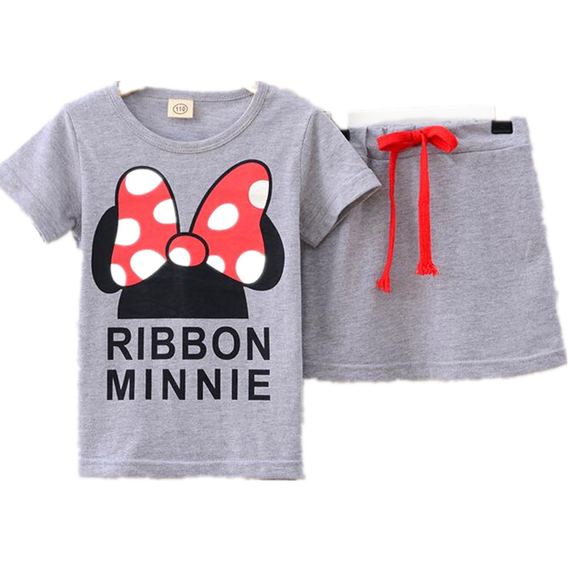 Children clothing set Girls Clothing Summer Baby Girl Clothes T-shirt + Skirt Girls Sets Kids Tracksuit 2T-14T Pink Mouse