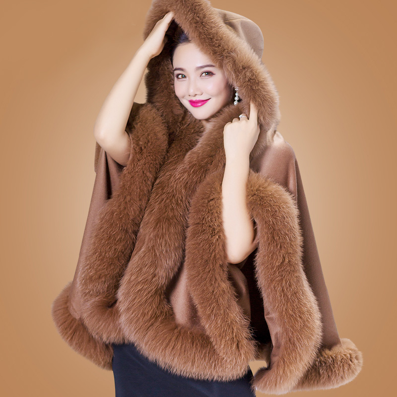 ZDFURS*Genuine Cashmere Shawls Fox Fur  Female Free Size Fashion Real Fur Ponchos Women's Capes Luxury Brand Winter Shawls