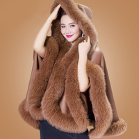 ZDFURS*Genuine Cashmere Shawls Fox Fur Female Free Size Fashion Real Fur Ponchos Women's Capes Luxury Brand Winter Shawls