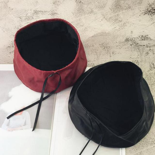 Leather Winter Flat Beret