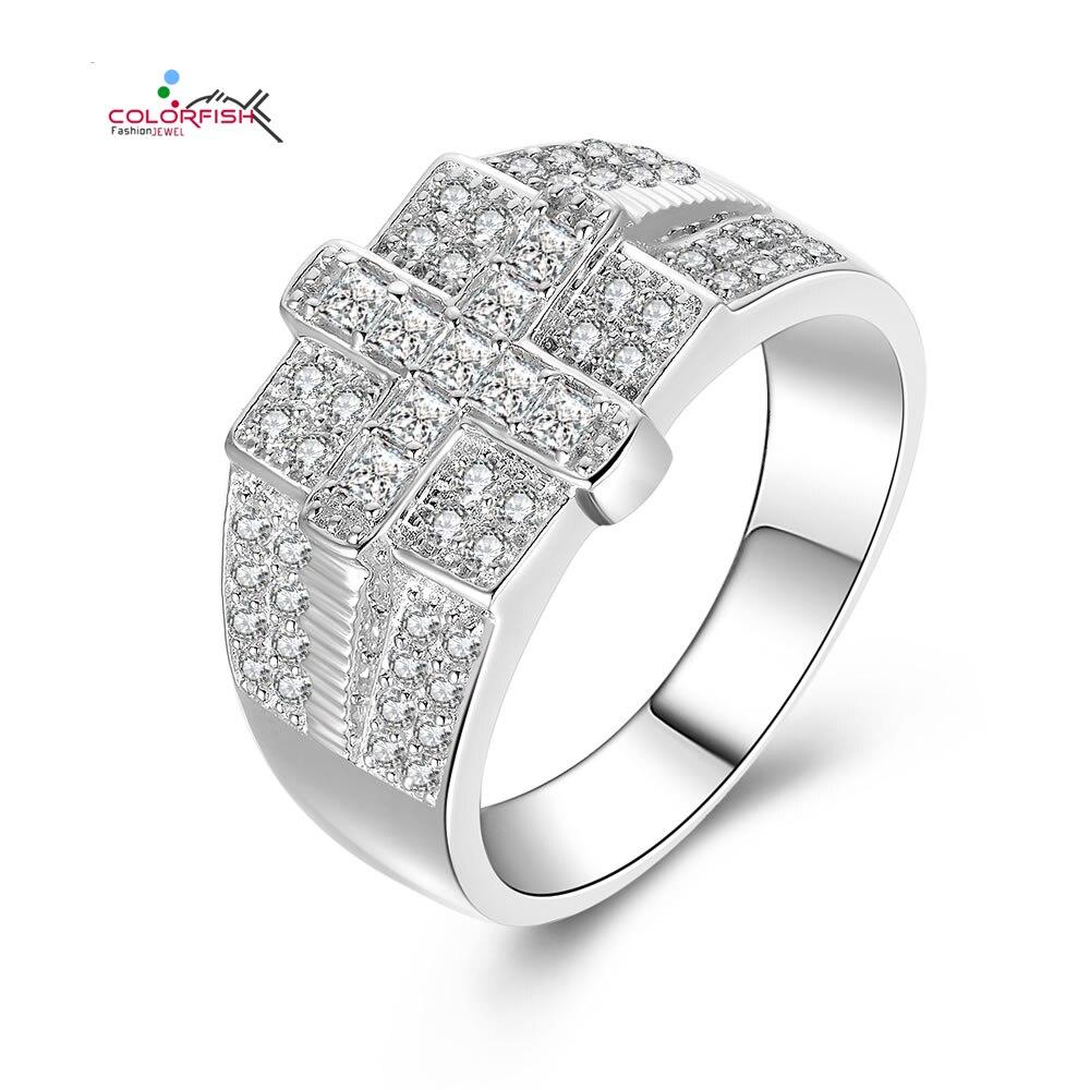 COLORFISH authentique 925 en argent Sterling hommes bijoux croix anneau pavé ensemble princesse ronde Zircon luxe bagues de fiançailles de mariage