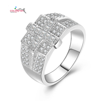 COLORFISH Authentic 925 Sterling Silver Men Jewelry Cross Ring Pave Set Princess Round Zircon Luxury Wedding