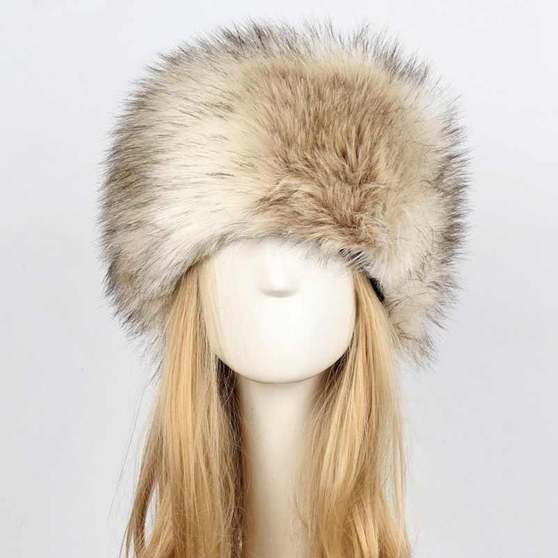 eae22f0a10 ... Russian Women Lady Faux Fox Fur Earflap Snow Hat Cossack Style Beanie  Warm Cap Winter 2018