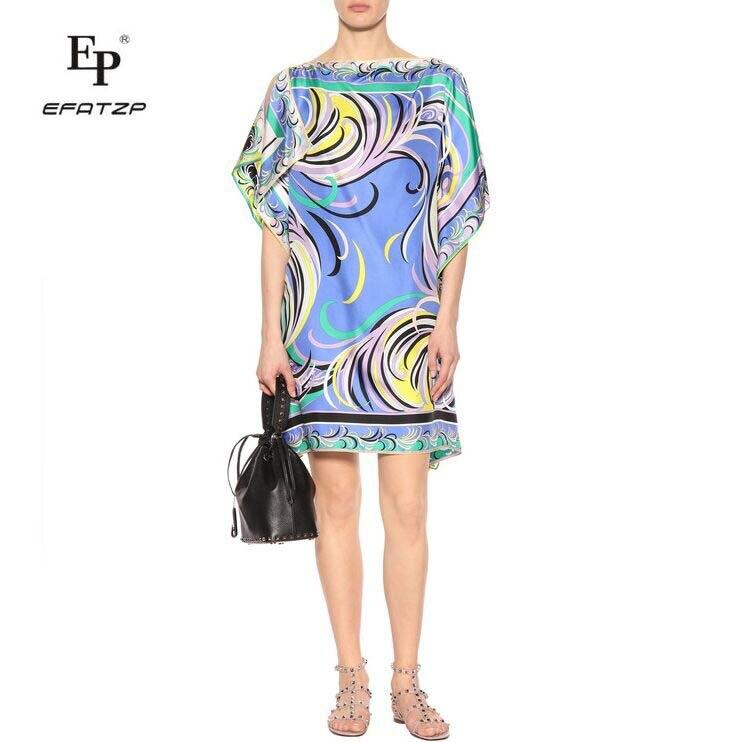 새로운 2018 패션 디자이너 드레스 여성 반팔 블루 기하학 인쇄 대형 xxl 스트레치 저지 느슨한 실크 데이 드레스-에서드레스부터 여성 의류 의  그룹 1