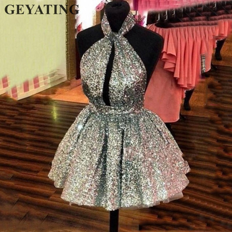 Sparkle Silver Sequin Mini Cocktail Dress 2019 Sexy Halter Backless Short Party Dresses Cheap Semi Formal Gowns Homecoming Dress
