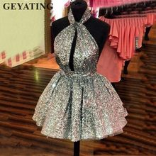 73fa040c34 Sparkle Silver Sequin Mini Cocktail Dress 2019 Sexy Halter Backless Short  Party Dresses Cheap Semi Formal Gowns Homecoming Dress