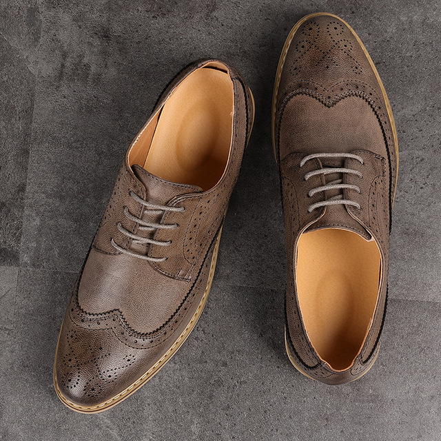NPEZKGC Fashion Vintage British Style Casual Men Shoes Oxfords Business Man Flats Footwear Breathable Comfortable Outdoor Shoes
