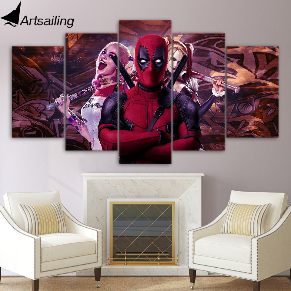 Aliexpress Com Buy Free Shipping 3 Piece Wall Decor: Aliexpress.com : Buy 5 Piece Canvas Art Deadpool And