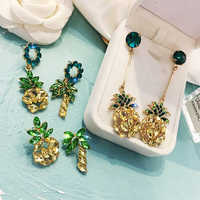 The new Korean version of alloy pineapple fruit lady's ear nails, European and American exaggerated long temperament ear studs