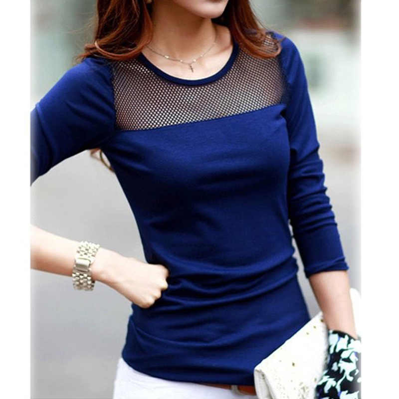 50bb2686046 Black Blue White Tops Tees Shirts Women Cotton Shirt Lace Mesh Patchwork  long sleeve T Shirts