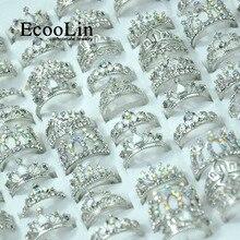 50 個 EcooLin ジュエリーファッションジルコン光沢のある王冠シルバーメッキリングロット女性のためのバルクパック LR4024