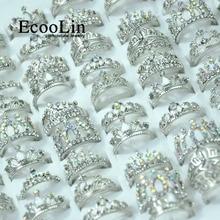 50 Pcs EcooLin Schmuck Mode Zirkon Shiny Crown Silber Überzogene Ringe Viele Für Frauen Groß Packs LR4024