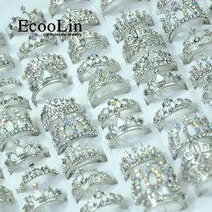 Image 1 - 50 Pcs EcooLin เครื่องประดับแฟชั่น Zircon มงกุฎแหวนเงินจำนวนมากสำหรับผู้หญิงจำนวนมากแพ็ค LR4024
