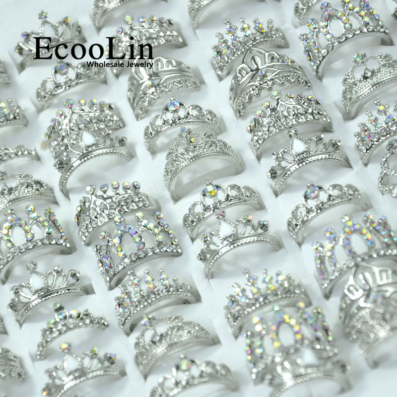 50Pcs EcooLin Jewelry Fashion Zircon Shiny Crown Silver Plated Rings Lots For Women Bulk Packs LR4024-in Rings from Jewelry & Accessories