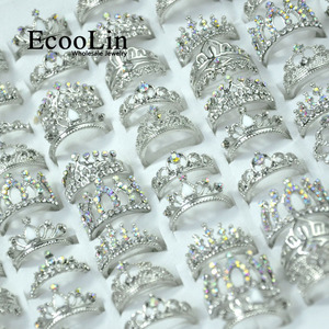 Image 1 - 50Pcs EcooLin Jewelry Fashion Zircon Shiny Crown Silver Plated Rings Lots For Women Bulk Packs LR4024