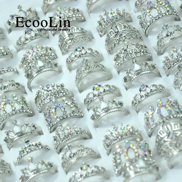 50Pcs EcooLin Jewelry Fashion Zircon Shiny Crown Silver Plated Rings Lots For Women Bulk Packs LR4024