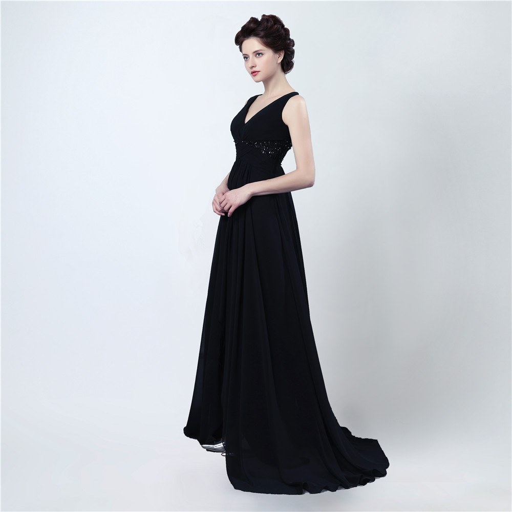 302486ff5ac3 Black Chiffon Evening Dresses V Neck With Spaghetti Straps Beaded Long  Formal Evening Gown Prom Dresses-in Evening Dresses from Weddings   Events  on ...