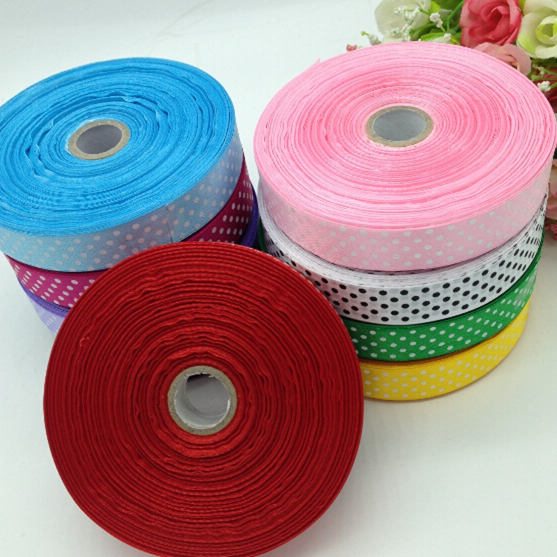 9 rolls (450yards) 15mm width printed dots satin ribbon wedding party decoration crafts making ribbon bows DIY accessories A939