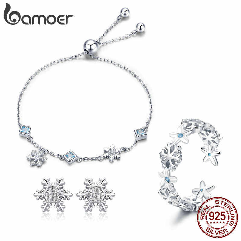BAMOER Fashion 925 Sterling Silver Winter Gift Snowflake Bracelets & Earrings & Rings Jewelry Sets Sterling Silver Jewelry Set