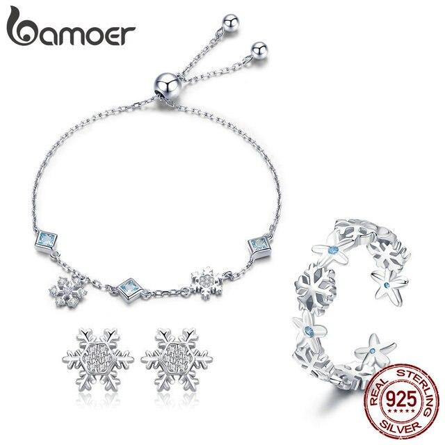 Bamoer Fashion 925 Sterling Silver Winter Gift Snowflake Bracelets Earrings Rings Jewelry Sets