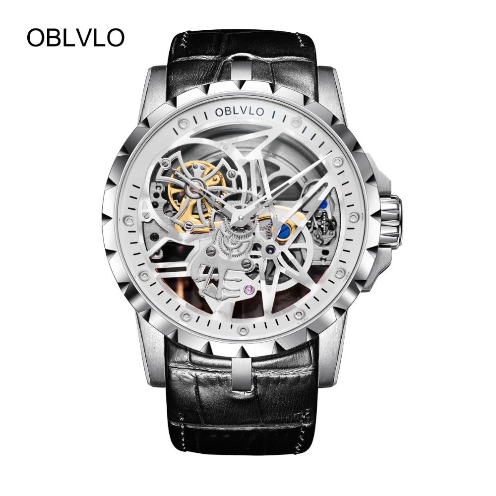 OBLVLO Luxury Open Work Design Mens Watches Skeleton Dial Calfskin Strap Watch Automatic Movement Waterproof Montre