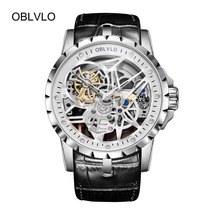 OBLVLO Роскошные открытый дизайн Работа мужские часы Скелет циферблат ремешок из телячьей кожи часы автоматический механизм Водонепроницаемый Montre Homme RM-1