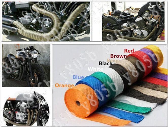 2x10m Exhaust Heat Wrap Roll Cable Pipe Tape With 4 Stainless Ties Kit For: Motorcycle Exhaust Wrap Kit At Woreks.co