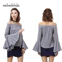 Women Plaid Blouse 2017 Summer Cotton Drop Shoulder Long Flare Sleeve Slash Neck Loose Shirts Fashion