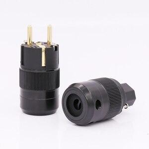 Image 3 - 24k pozłacana wersja ue wtyczka zasilania IEC siła żeńska wtyczka zasilania dla złącza przewodu moc dźwięku, Schuko zasilanie prądem zmiennym wtyczka zasilania + IEC power conne