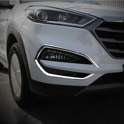 Dla Hyundai Tucson 2015 2016 2017 2018 ABS Chrome przednia głowica lampa przeciwmgielna wkładka formowanie ozdobne pokrywa wykończenia stylizacji 2 sztuk