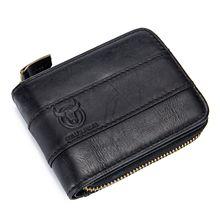 ABDB BULLCAPTAIN Genuine Leather Men Wallet RFID Blocking Vintage Bifold Wallets Credit Cards Holder