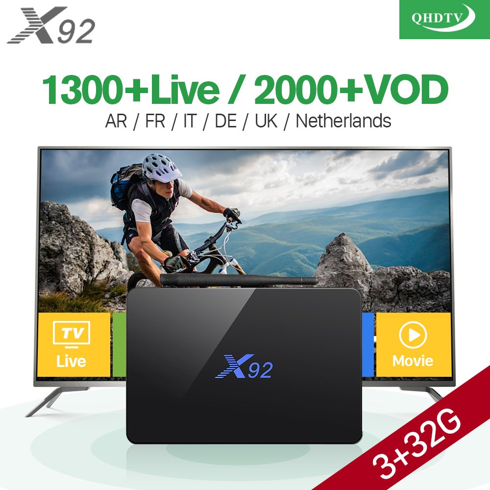 H.265 Europe Arabic French IPTV Channels Android 7.1 IPTV TV Box S912 X92 2G 16G Support Sport French Iptv Set Top Box android box s912 t95zplus europe french arabic iptv channels smart tv 1300 live hd wifi media player set top box
