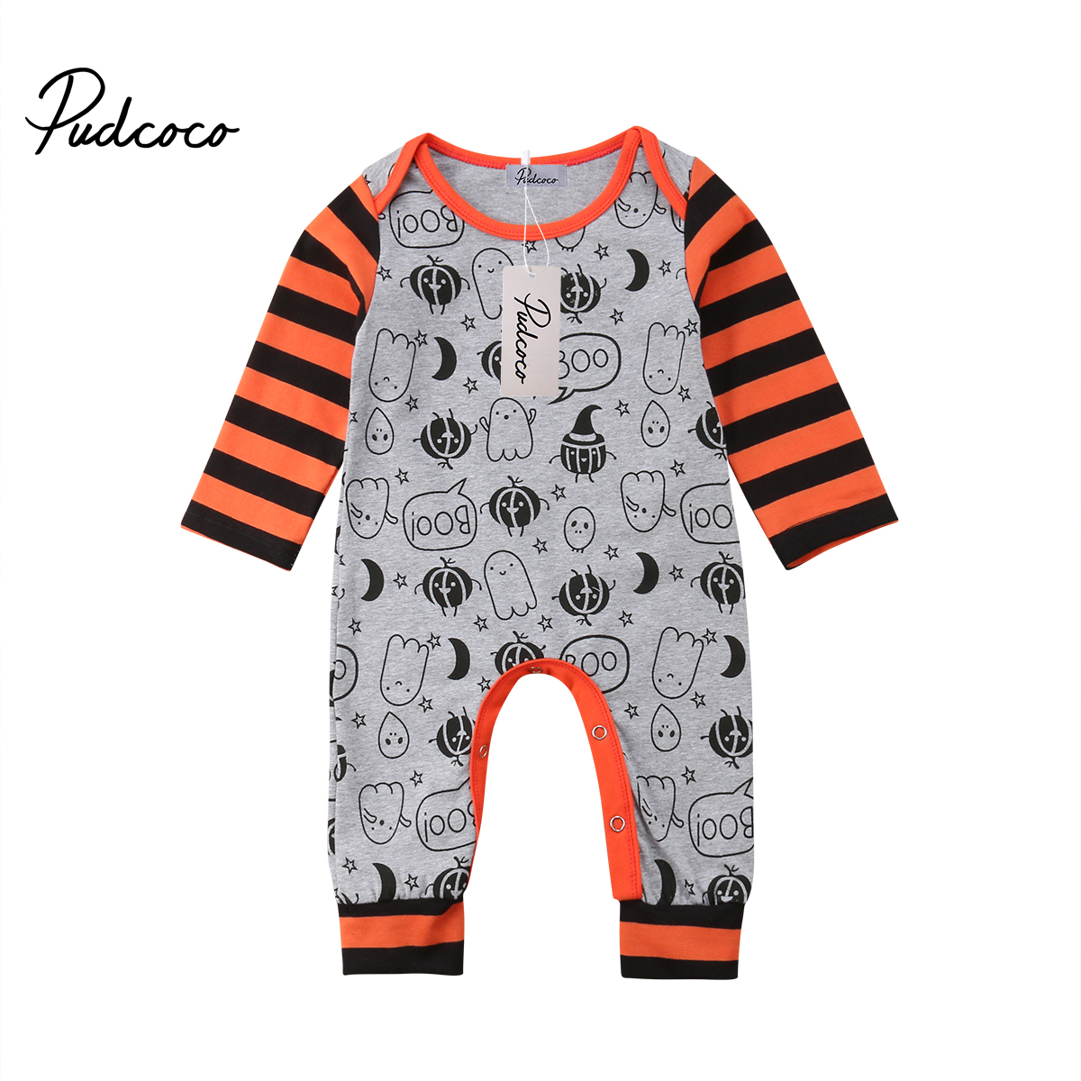 Cute Pumpkin Romper Newborn Baby Boy Girls Cotton Blend Romper Striped Long Sleeve Jumpsuit Printed Autumn Clothes Outfits o ring belted striped shirt romper