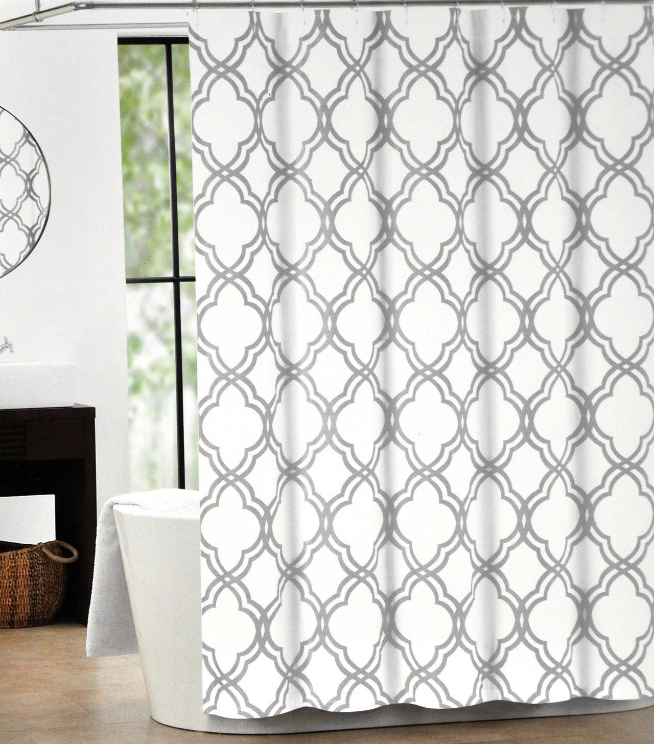 Moroccan curtains white - Memory Home Max Studio Home Cotton Shower Curtain Moroccan Tile Quatrefoil Gray And White Lattice 70x72inch