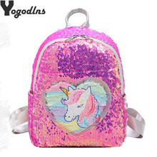 Variable color Sequins Unicorn Backpack Fashion Glitter School Book Bag Girls Cute Hologram Laser PU Leather Travel Mochila(China)