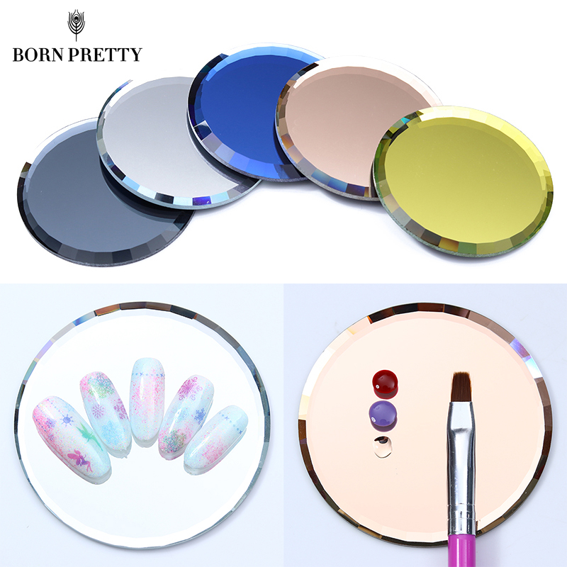 Mirror Glass Color Palette False Nail Tips Display Board Tool Practice Showing Shelf Manicure Nail Art Tool for honda cr v crv 2017 2018 suv stainless steel rear bumper protector sill trunk rear guard plate cover trim car styling