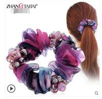 Factory Wholesale Simple Hair Headdress Silk Yarn Tousheng Rubber Ring Korea Ponytail Hair Rope Headdress Flower