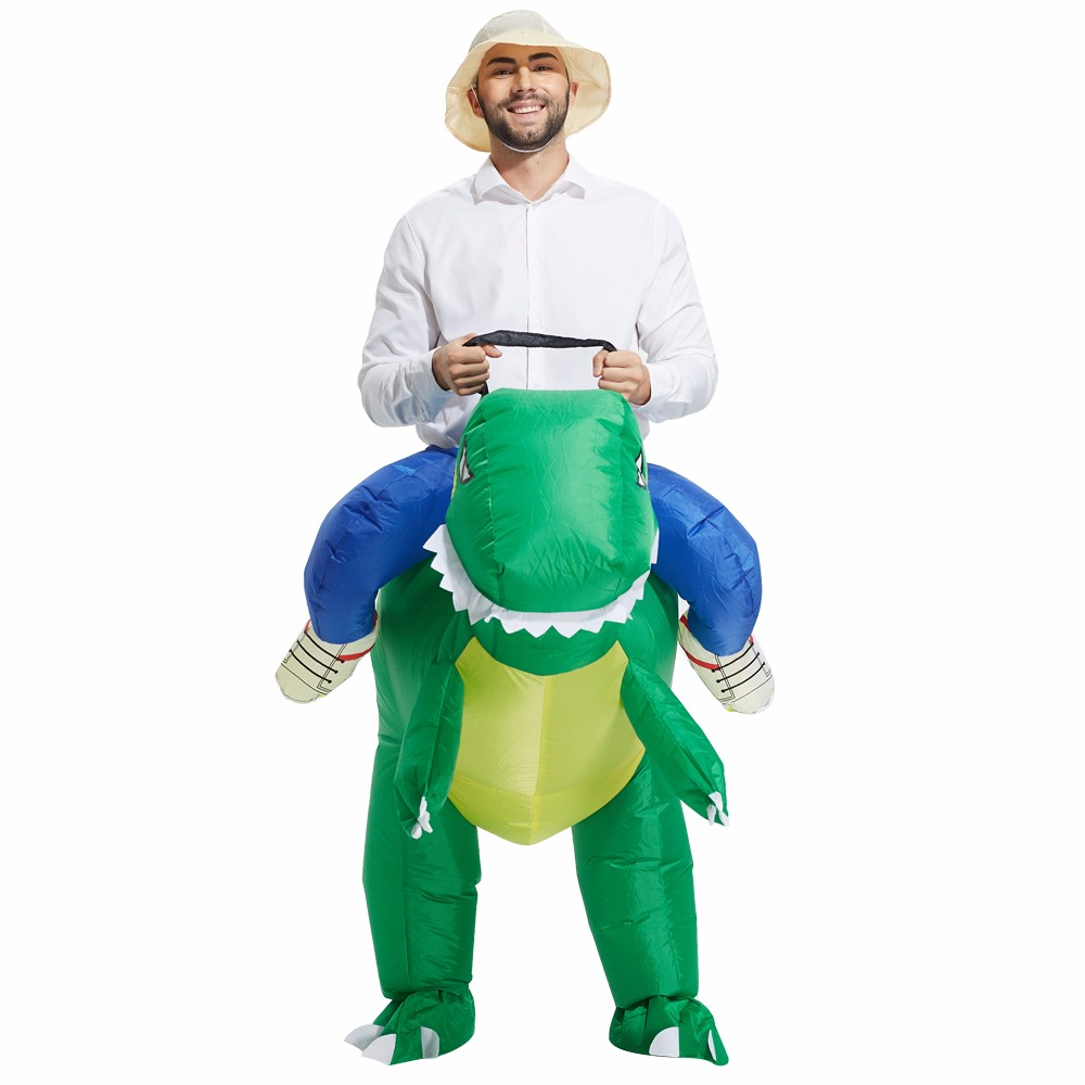 High quality Hot Sell green Inflatable Dinosaur Costume Animal cosplay Costume Halloween Christmas Costume For Man Free Shipping