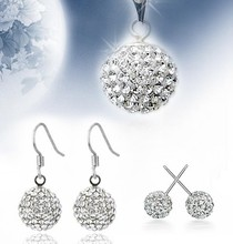 Free shipping 2013 new arrival fashion shiny zircon ball 925 silver jewelry sets stud earrings drop earrings necklaces 1sets/lot