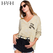 HYH HAOYIHUI  new fashion Autumn Letter Printed Sweaters Women Casual Tops Loose Long Sleeve Top Fashion Brief Knitted Sweater