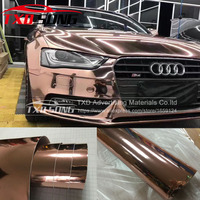 Premium High Flexible Chrome Rose Gold Mirror Vinyl Wrap Roll Decal Film Car Sticker car styling 1.52x20m/roll with Bubble Free
