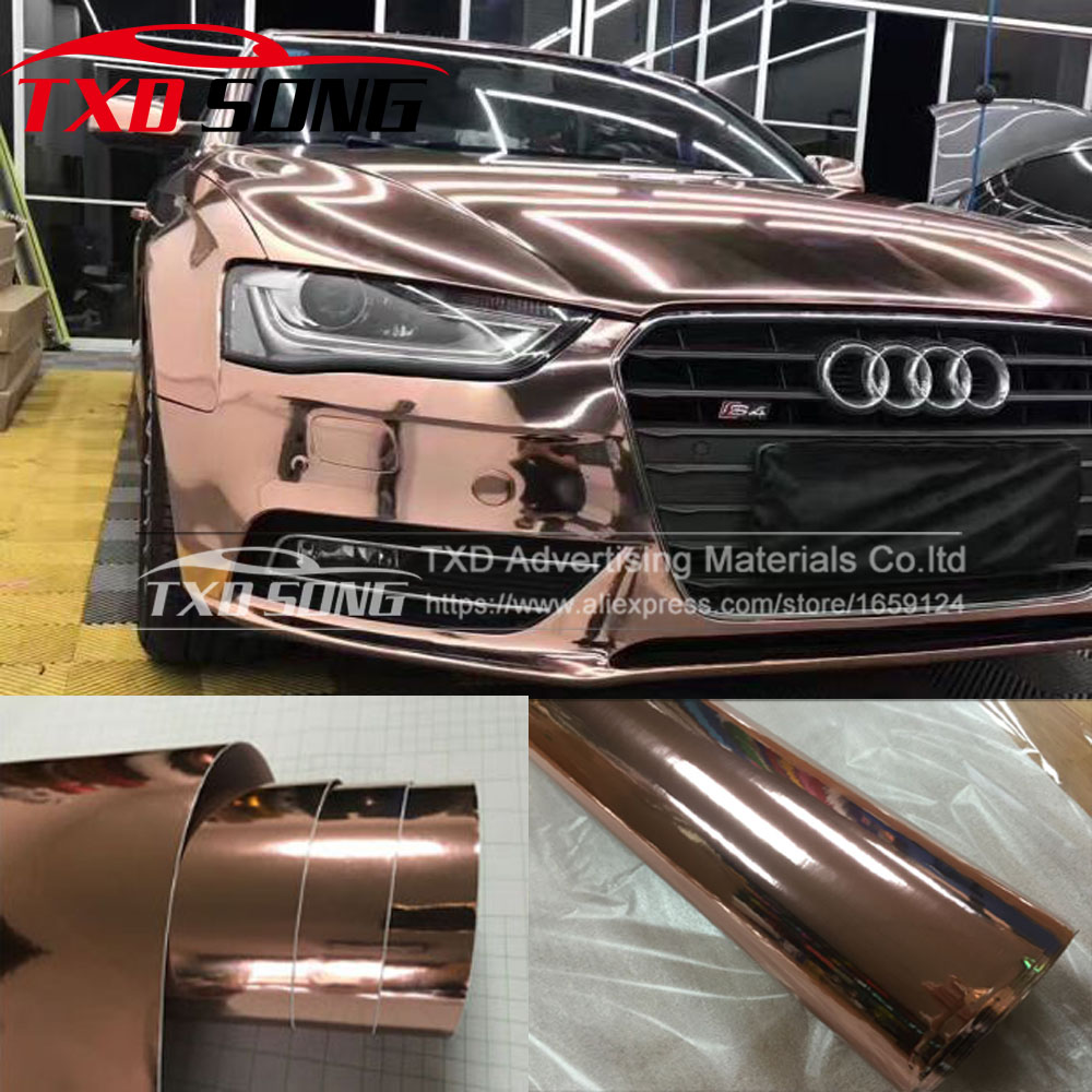 Premium haute Flexible Chrome or Rose miroir vinyle Wrap Film autocollant voiture style voiture 1.52x20 m/rouleau avec bulle libre