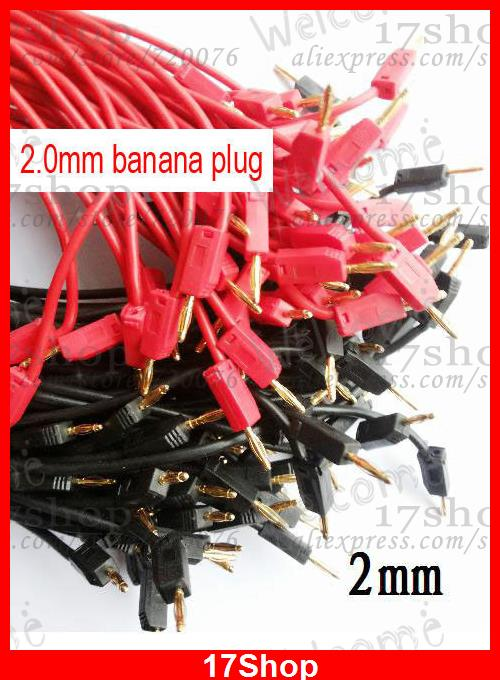 50PCS 50CM Red Black Gilded 2mm Banana Plug Cable for Test Probes Instrument