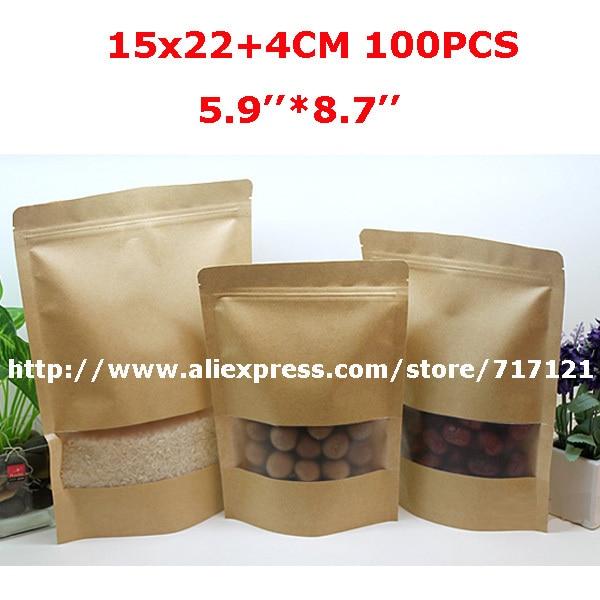 Livraison gratuite 15*22 + 4 cm au détail stand up zip lock couleur marron sac en papier kraft 100 pièces papier kraft stand up pochettes livraison gratuite